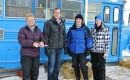 Trent Wotherspoon with volunteers at the Candaian Dogsled Championships